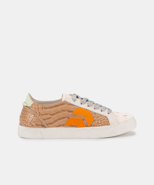 ZAGA SNEAKERS IN CAFE CROCO PRINT LEATHER -   Dolce Vita