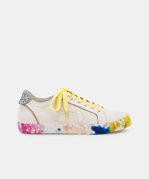 ZAGA SNEAKERS IN CITRON MULTI TIE DYE LEATHER