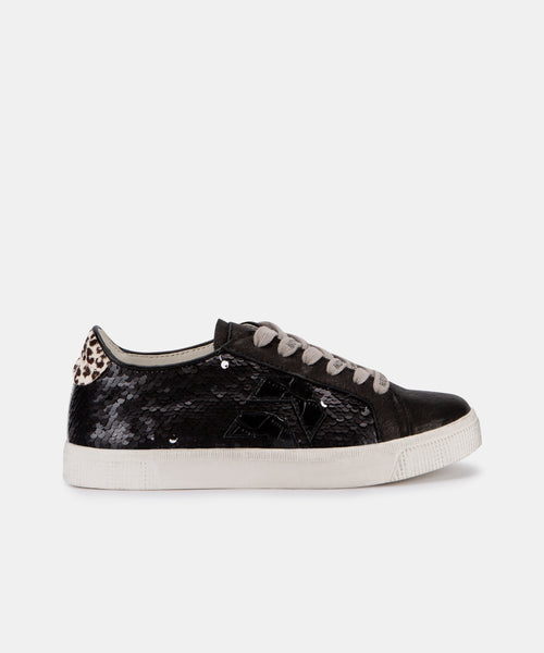 ZAGA SNEAKERS IN BLACK/SILVER SEQUIN -   Dolce Vita