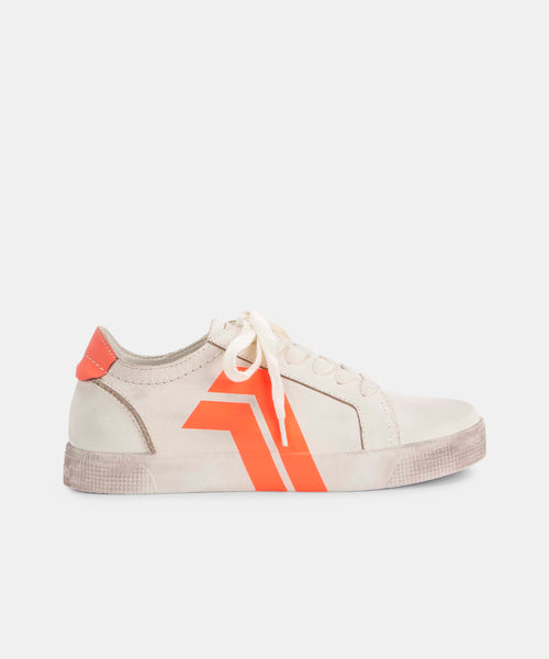 ZAGA SNEAKERS IN WHITE/CORAL -   Dolce Vita