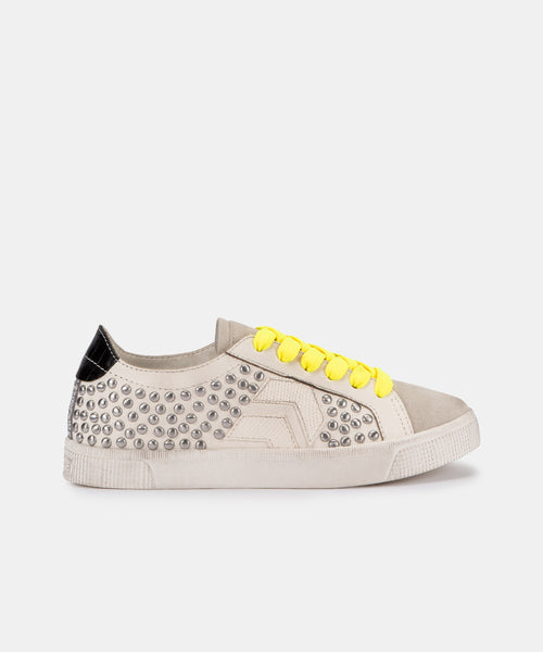 ZAGA SNEAKERS IN WHITE MULTI STUDDED LEATHER -   Dolce Vita