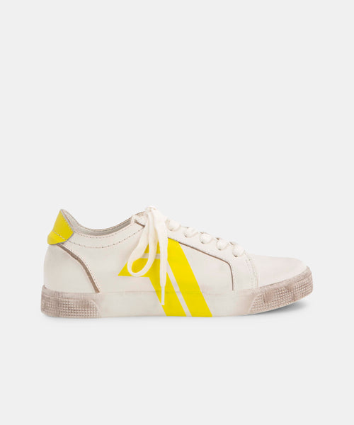 ZAGA SNEAKERS IN WHITE/YELLOW -   Dolce Vita