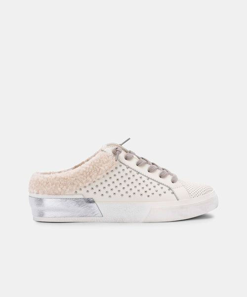 ZETA PLUSH SNEAKERS IN WHITE STUDDED LEATHER -   Dolce Vita