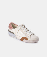 ZINA PLUSH SNEAKERS IN EGGSHELL PATENT CROCO LEATHER -   Dolce Vita