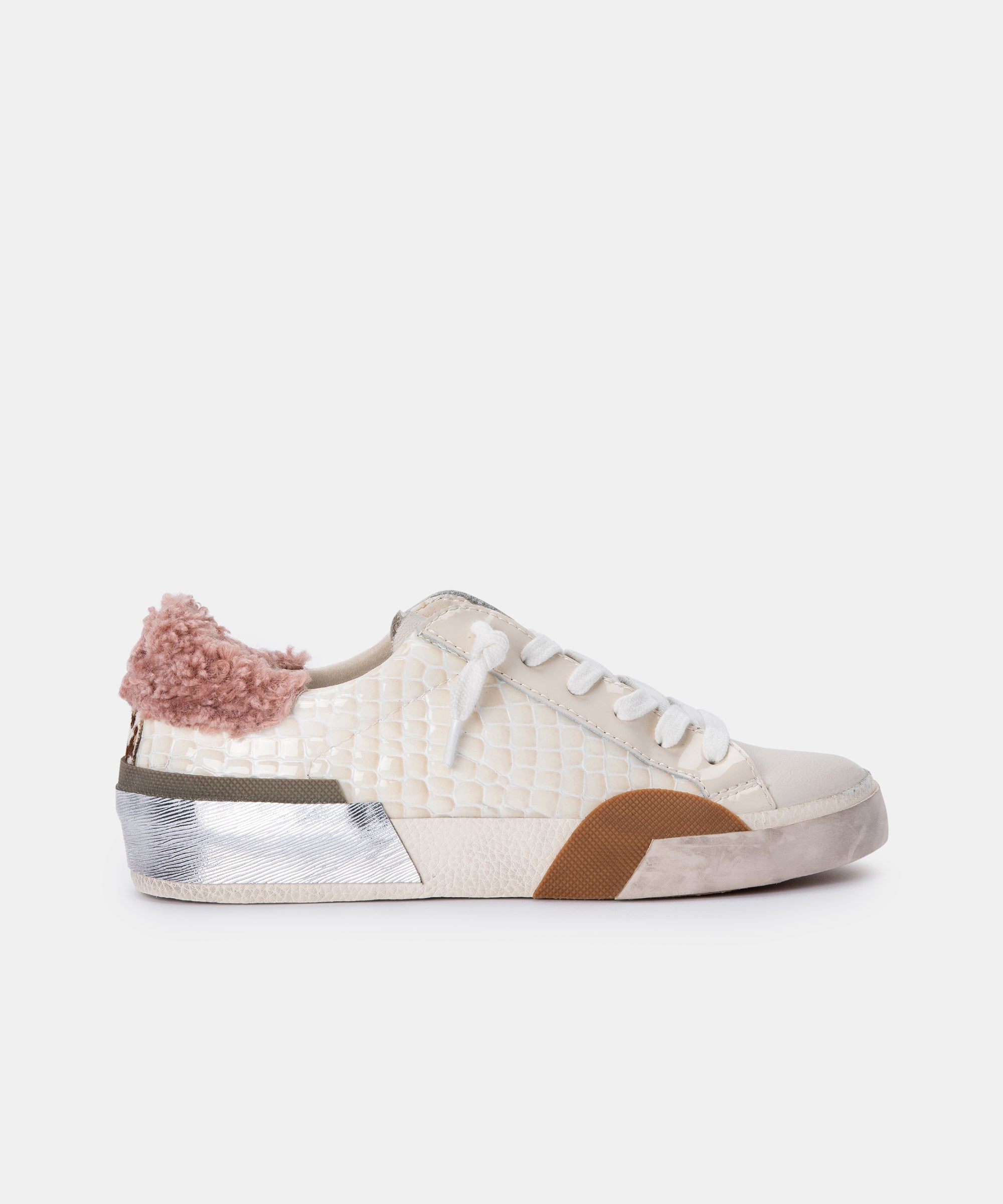 ZINA PLUSH SNEAKERS IN EGGSHELL PATENT CROCO LEATHER