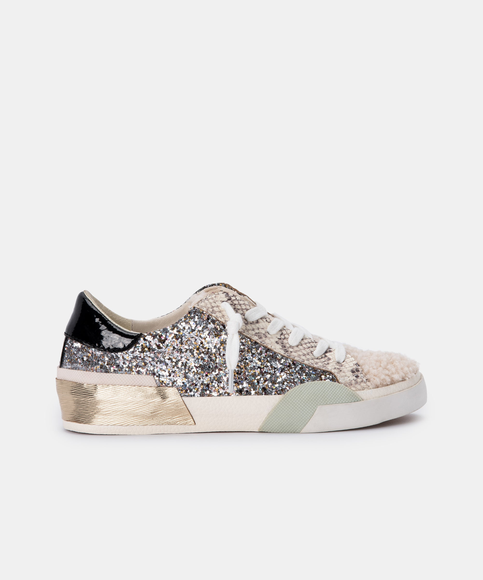 ZINA PLUSH SNEAKERS IN SILVER MULTI GLITTER