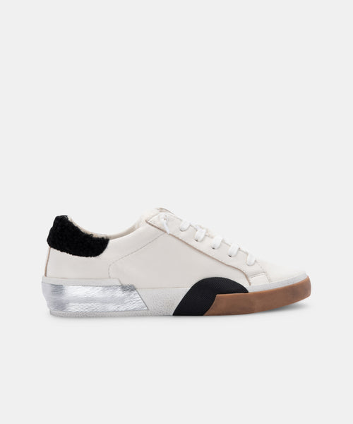 ZINA PLUSH SNEAKERS IN WHITE BLACK LEATHER