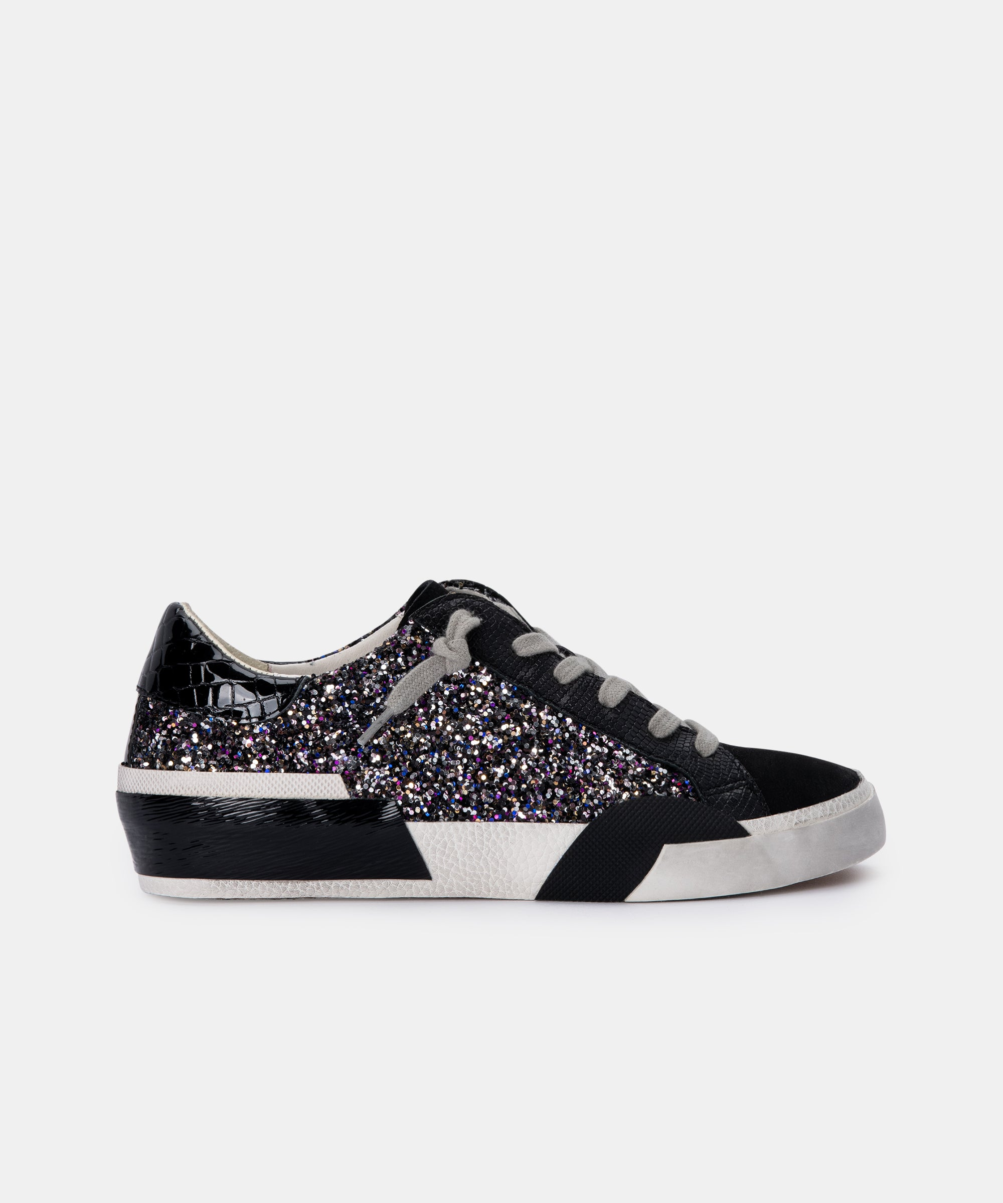ZINA SNEAKERS IN BLACK METALLIC GLITTER