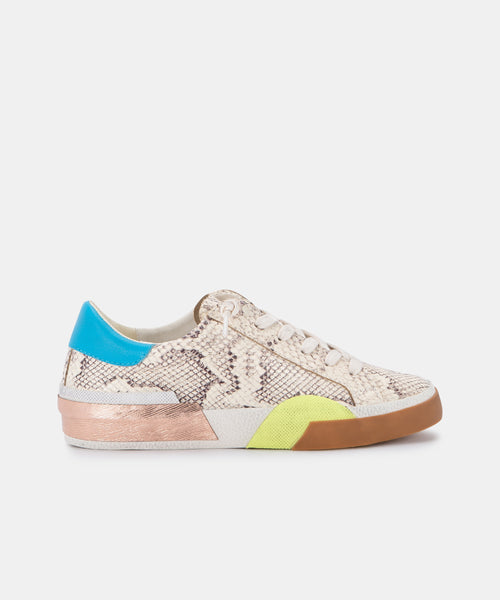 ZINA SNEAKERS IN BONE MULTI SNAKE PRINT LEATHER -   Dolce Vita