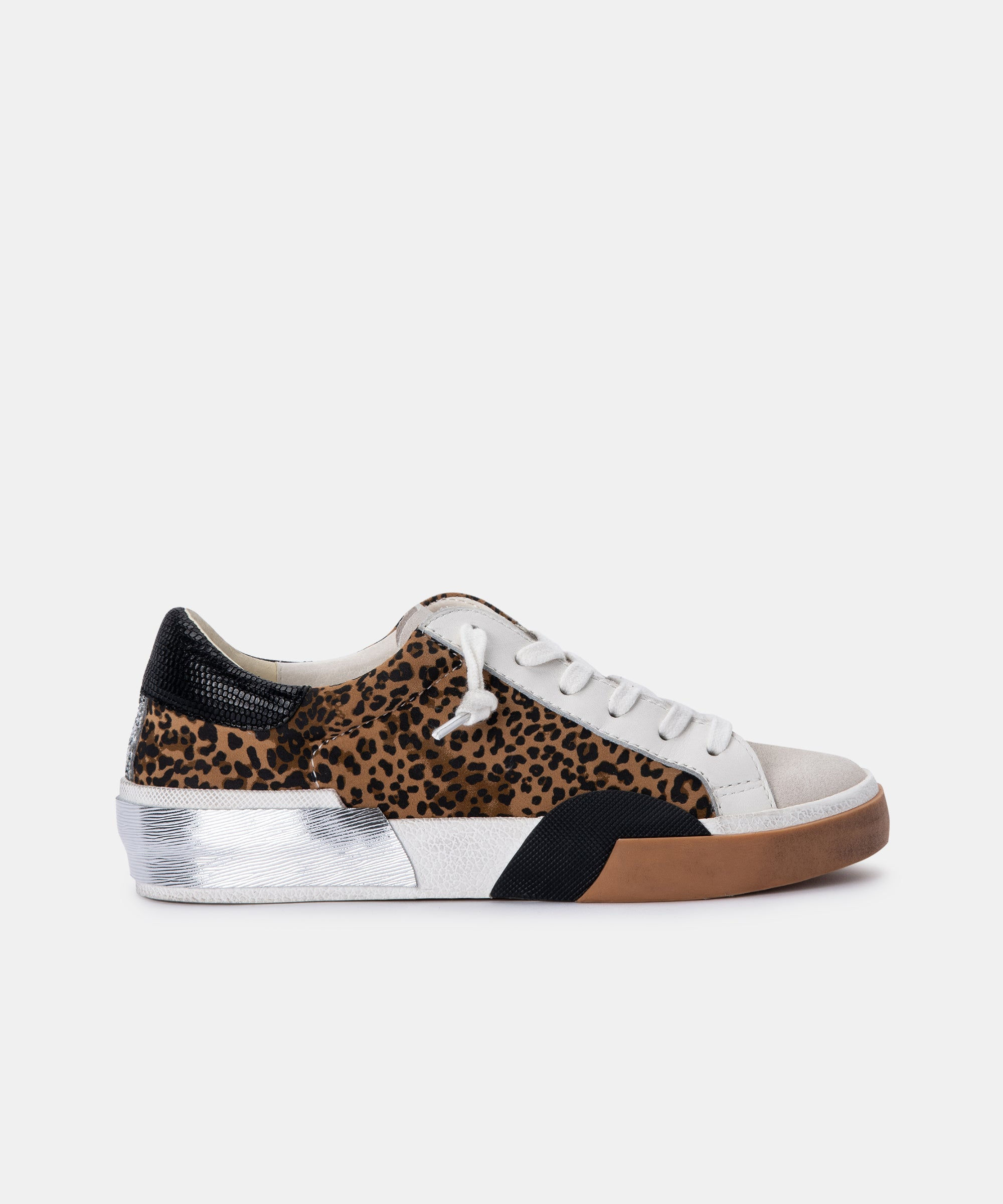 ZINA SNEAKERS IN TAN/BLACK DUSTED LEOPARD SUEDE
