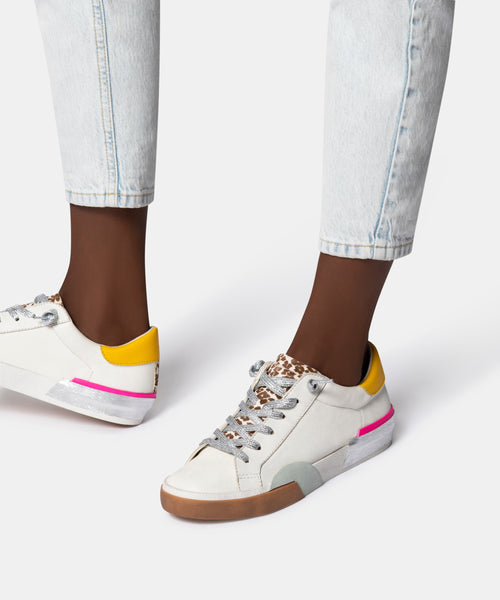 ZINA SNEAKERS IN WHITE MULTI LEATHER -   Dolce Vita