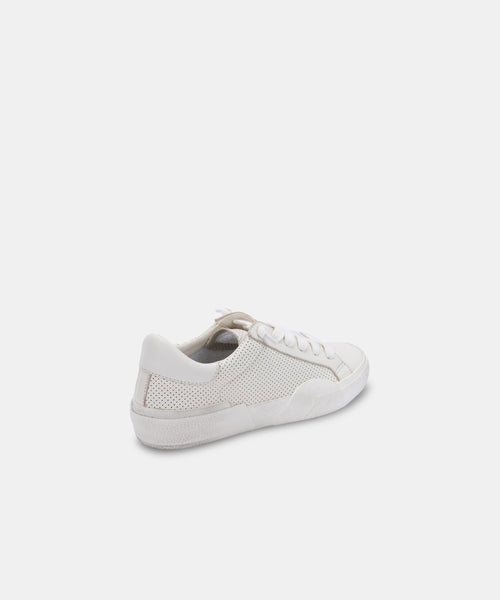 ZINA SNEAKERS IN WHITE PERFORATED LEATHER -   Dolce Vita