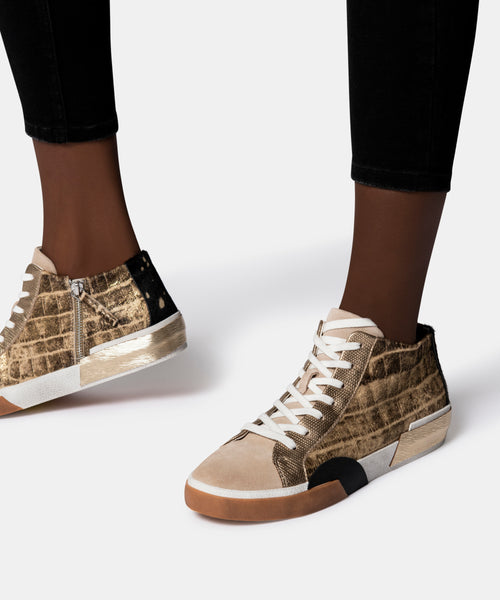 ZOEL SNEAKERS IN GOLD MULTI CALF HAIR -   Dolce Vita