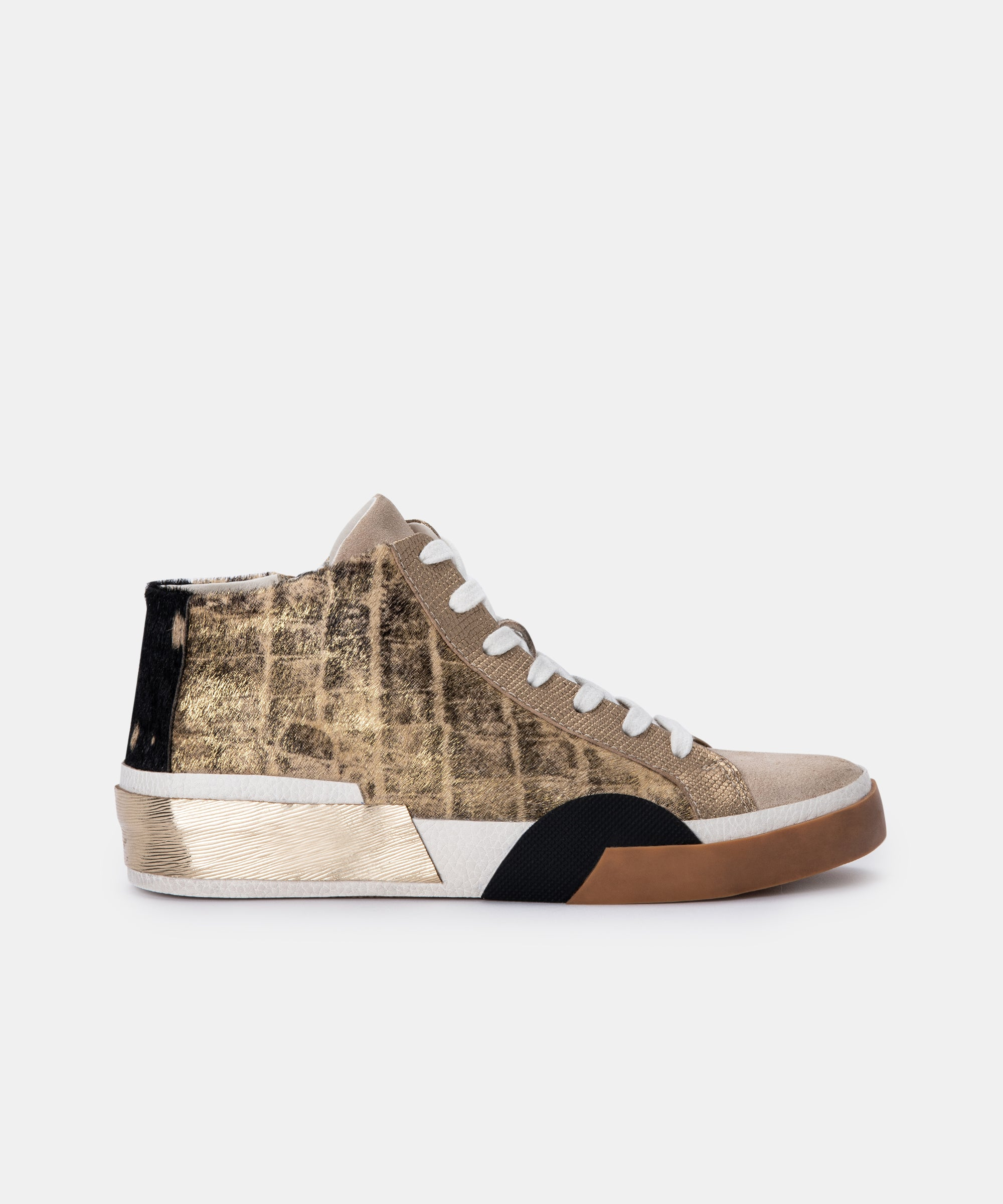 ZOEL SNEAKERS IN GOLD MULTI CALF HAIR