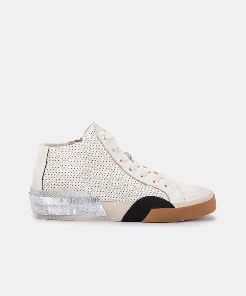 ZOEL SNEAKERS IN WHITE PERFORATED LEATHER -   Dolce Vita