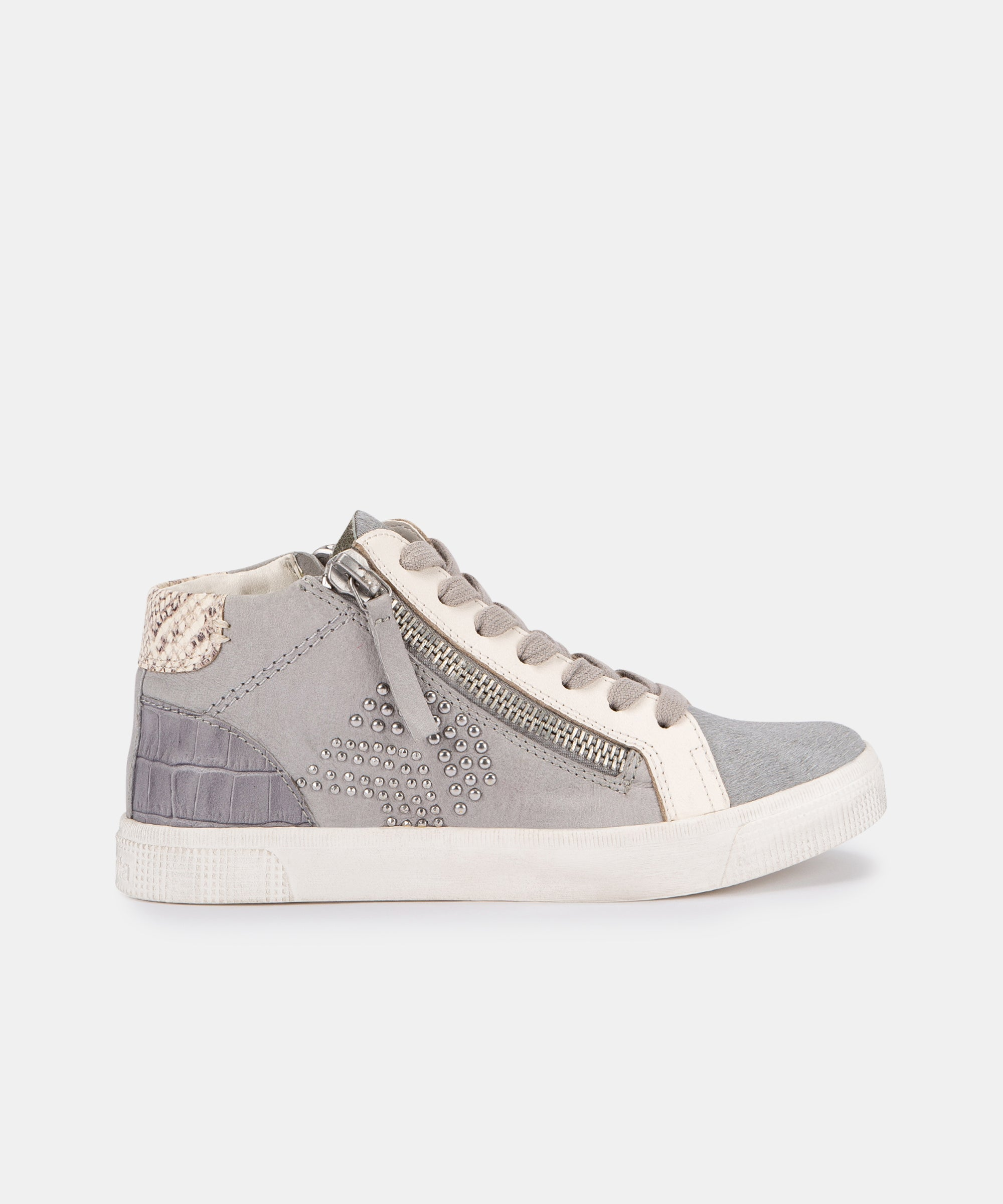ZONYA SNEAKERS IN GREY MULTI STUDDED LEATHER