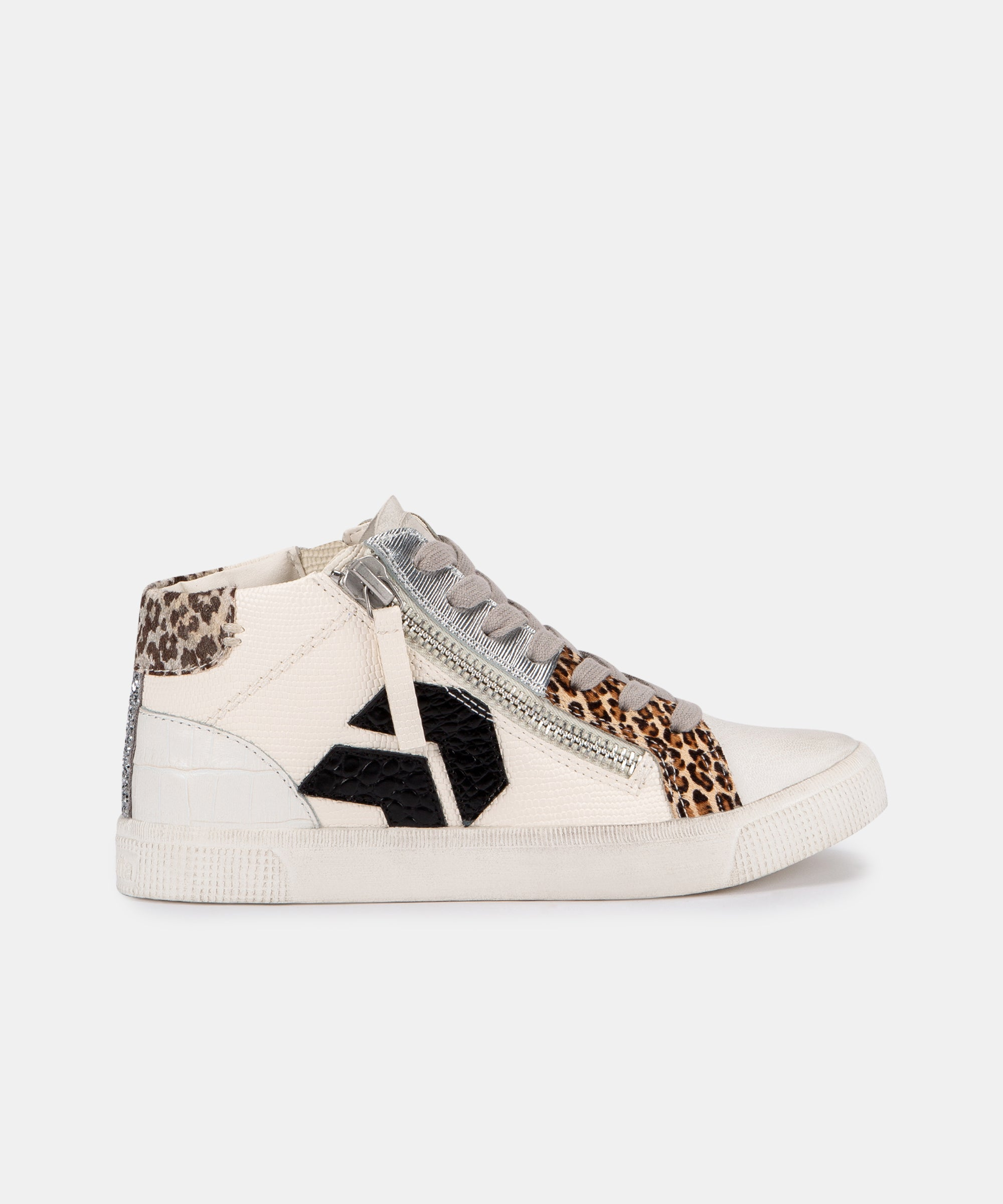 ZONYA SNEAKERS IN WHITE/BLACK EMBOSSED LIZARD
