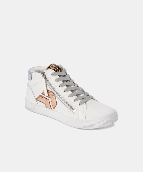 ZONYA PLUSH SNEAKER IN WHITE MULTI LEATHER -   Dolce Vita