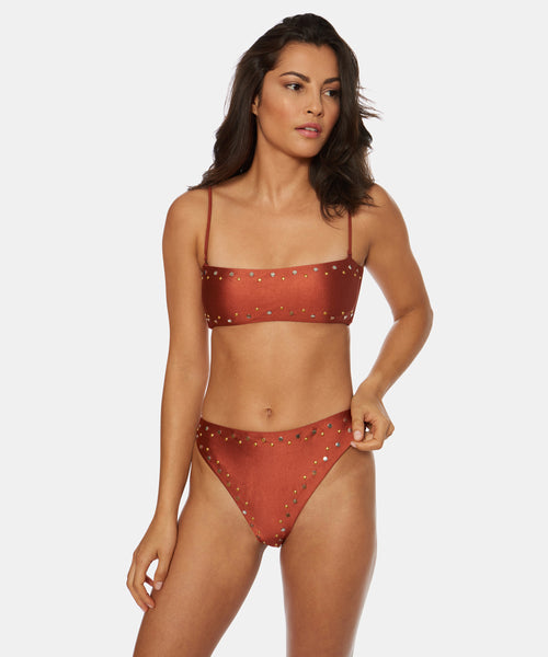 ESTRELLA HIGH WAIST HIGH LEG BOTTOM IN CINNAMON -   Dolce Vita