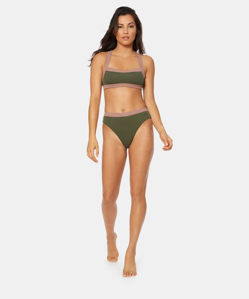 WANDERER RIB BANDED RACER BACK IN ARMY CLAY -   Dolce Vita