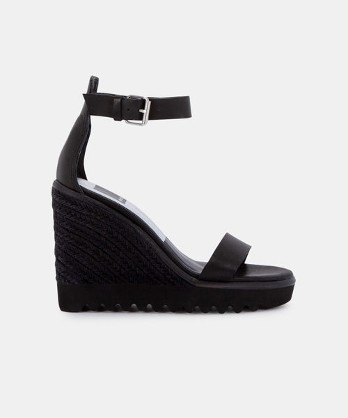 EDITH WEDGES IN BLACK LEATHER -   Dolce Vita