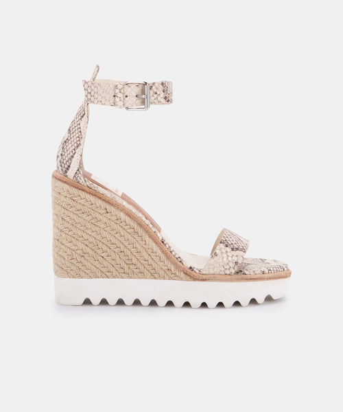 EDITH WEDGES IN BONE SNAKE PRINT LEATHER -   Dolce Vita