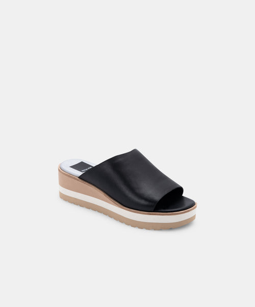 FRETA WIDE WEDGES BLACK LEATHER -   Dolce Vita