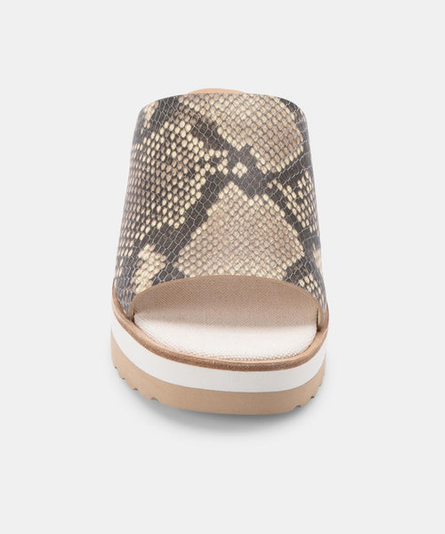 FRETA WEDGES IN STONE SNAKE PRINT LEATHER -   Dolce Vita