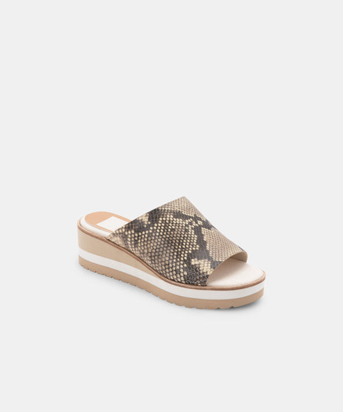 FRETA WIDE WEDGES STONE SNAKE PRINT LEATHER -   Dolce Vita