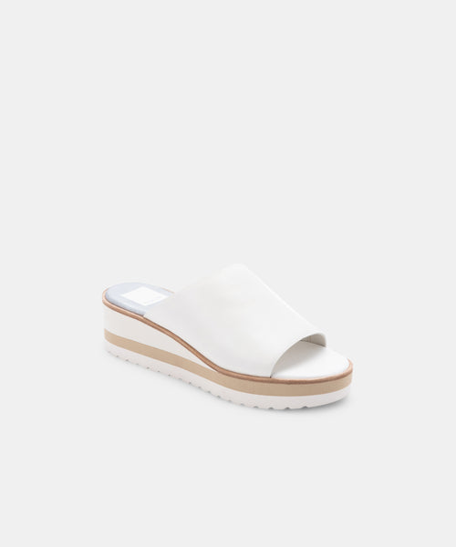 FRETA WIDE WEDGES WHITE LEATHER -   Dolce Vita