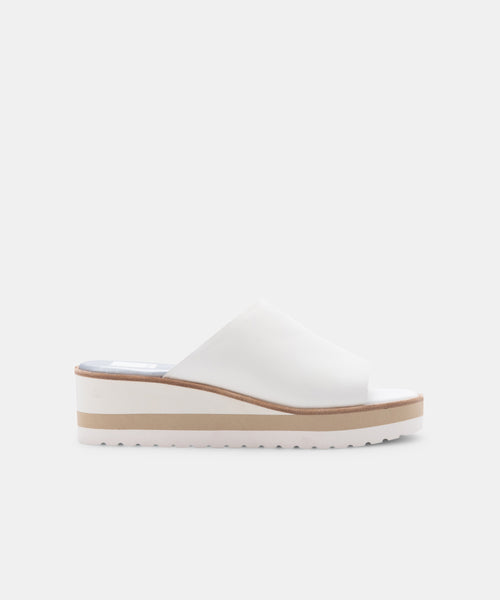 FRETA WEDGES IN WHITE LEATHER -   Dolce Vita