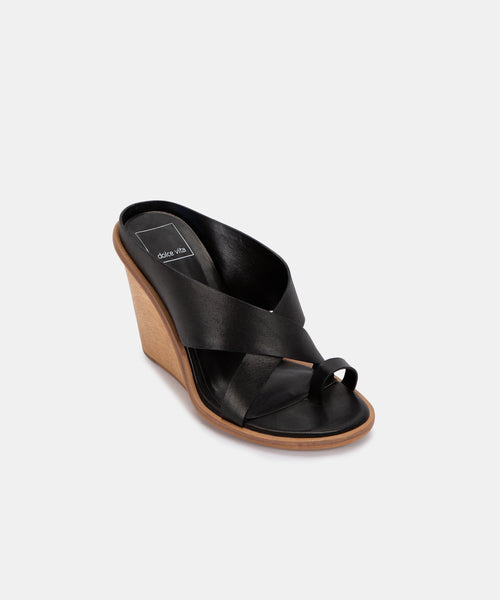 JAYLYN WEDGES IN BLACK LEATHER -   Dolce Vita
