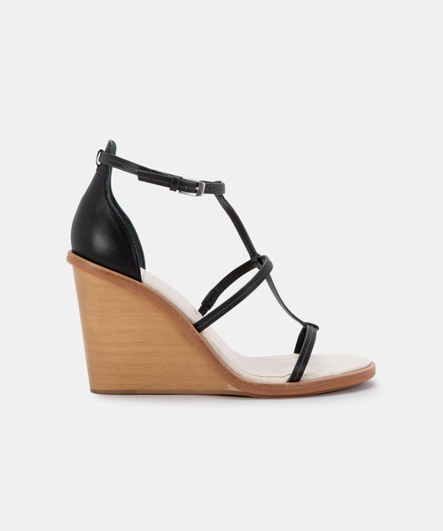 JEANA WEDGES IN BLACK LEATHER -   Dolce Vita