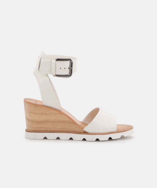 MELIKA WEDGES IN WHITE LEATHER