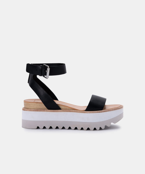 MILA SANDALS IN BLACK LEATHER -   Dolce Vita