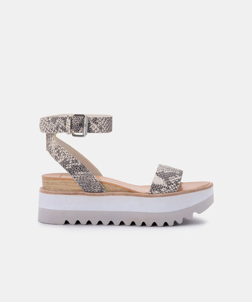 MILA SANDALS IN STONE SNAKE PRINT LEATHER -   Dolce Vita