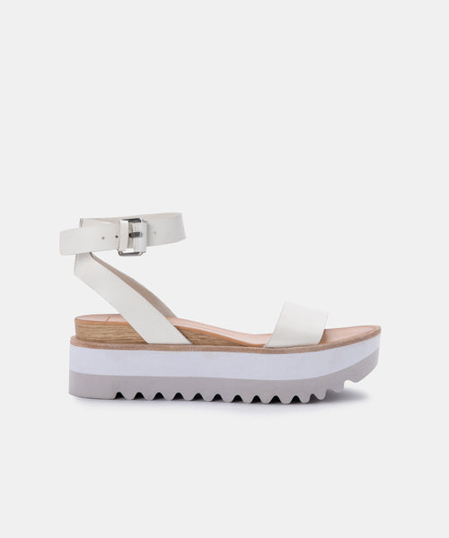 MILA SANDALS IN WHITE LEATHER -   Dolce Vita