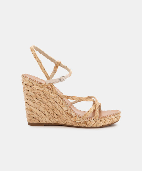 NADINE WEDGES IN NATURAL RAFFIA