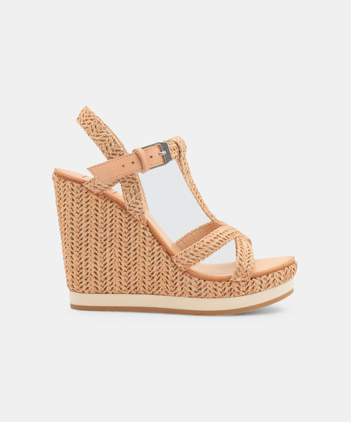 NATIAH WEDGES IN NATURAL RAFFIA -   Dolce Vita