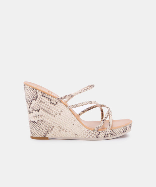 NAYA WEDGES IN BONE SNAKE PRINT LEATHER -   Dolce Vita