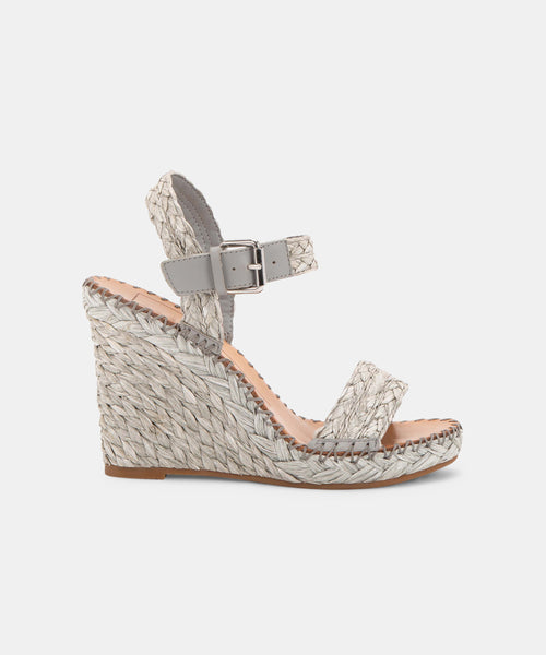 NIKO WEDGES IN GREY RAFFIA -   Dolce Vita