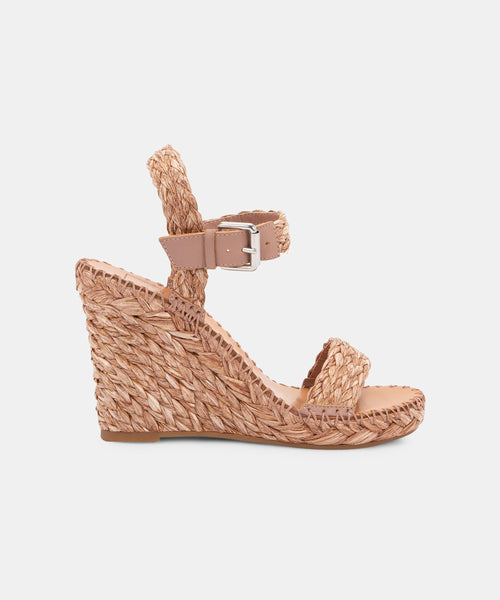 NIKO WEDGES IN ROSE RAFFIA -   Dolce Vita
