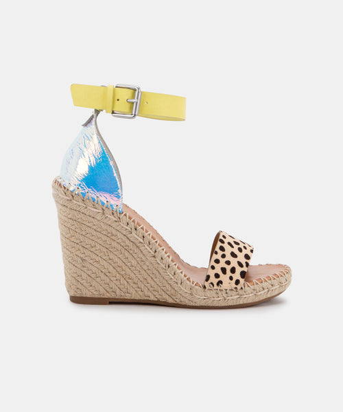 NOOR WIDE WEDGES IN LEOPARD MULTI CALF HAIR -   Dolce Vita