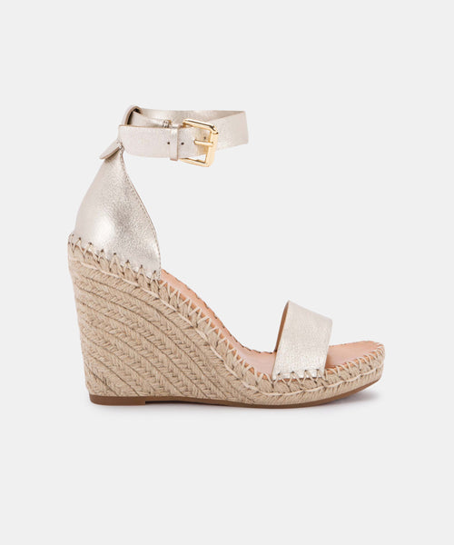 NOOR WEDGES IN LIGHT GOLD LEATHER -   Dolce Vita