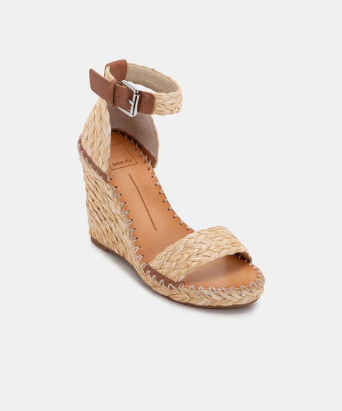 NOOR WEDGES IN LT NATURAL RAFFIA -   Dolce Vita