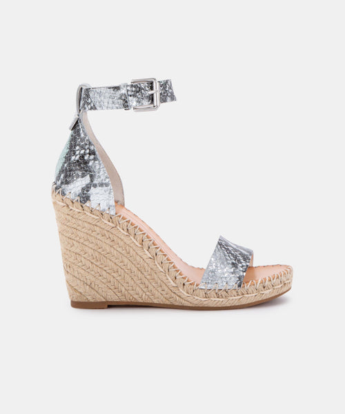 NOOR WEDGES IN MINT MULTI SNAKE PRINT LEATHER -   Dolce Vita