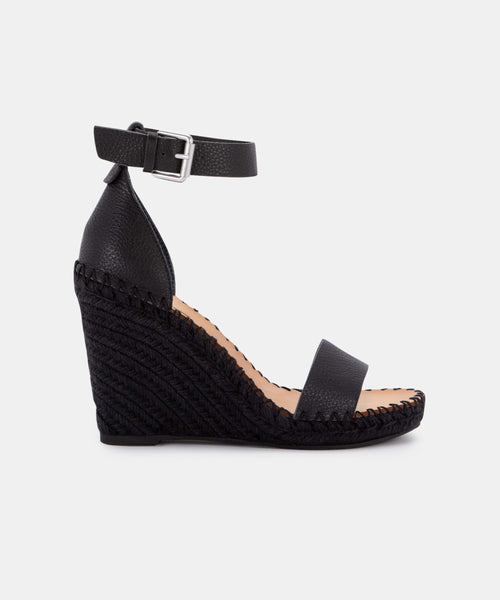 NOOR WEDGES IN ONYX LEATHER -   Dolce Vita