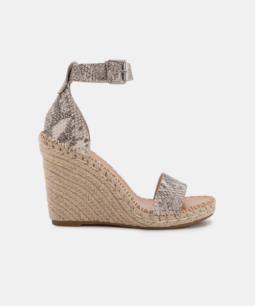 NOOR WIDE WEDGES IN STONE SNAKE PRINT LEATHER -   Dolce Vita