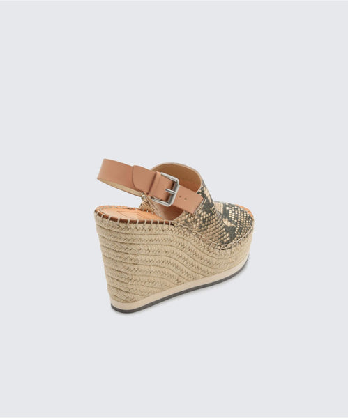 SHAN WEDGES IN SNAKE/NATURAL -   Dolce Vita