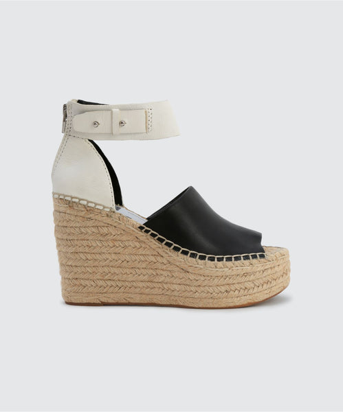 STRAW WEDGES IN BLACK/WHITE -   Dolce Vita